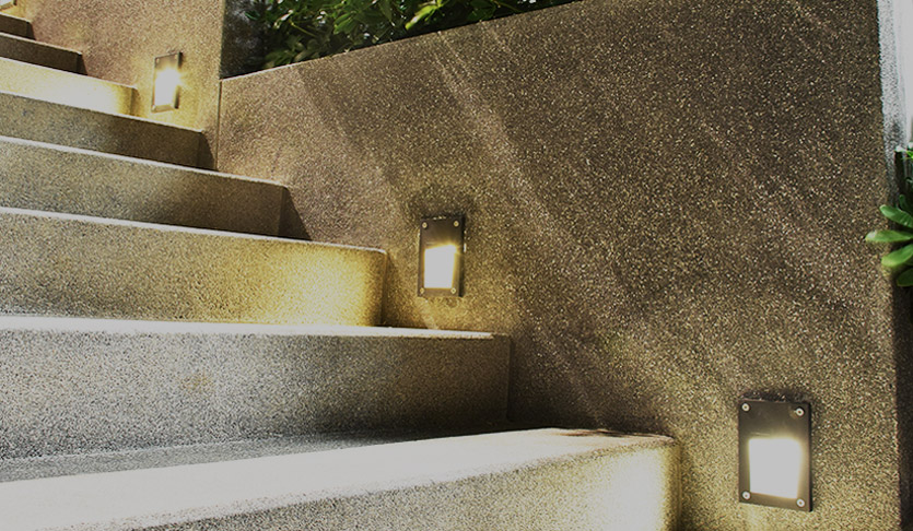Outdoor lighting on steps